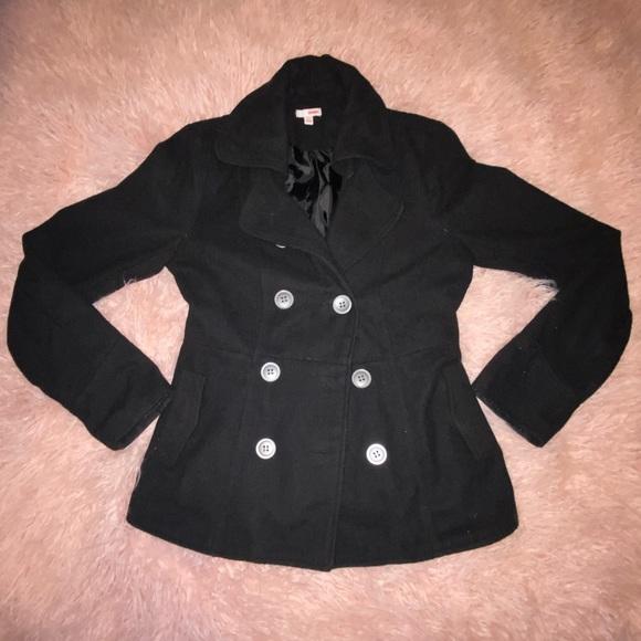 Jackets & Blazers - Black pea coat with pockets